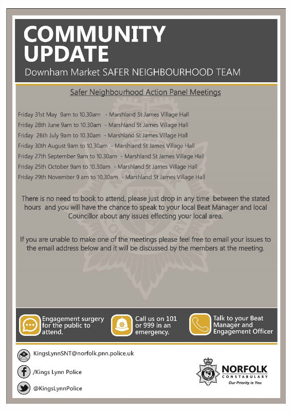 Safer Neighbouhood Community Update Action Panel Meetings